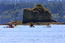 Sea kayaking in Washington at Alpengirl Girls Summer Camp