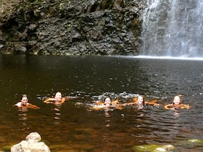 The queens bath in Hawaii at girls summer camp