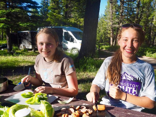 Girls Camp Cooking Skill Outdoors