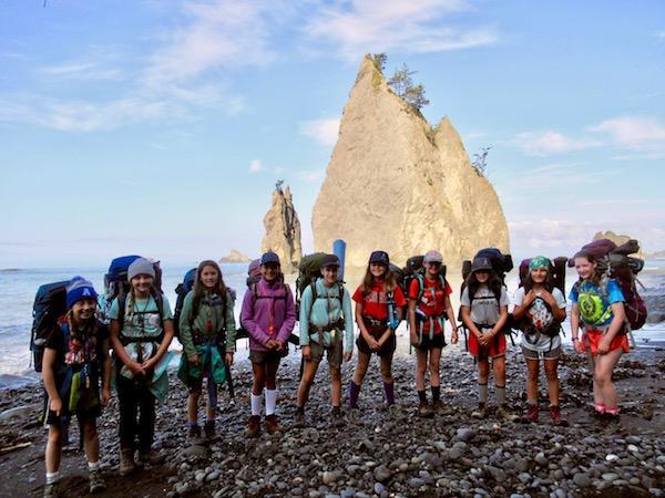 Beach hiking teen girls