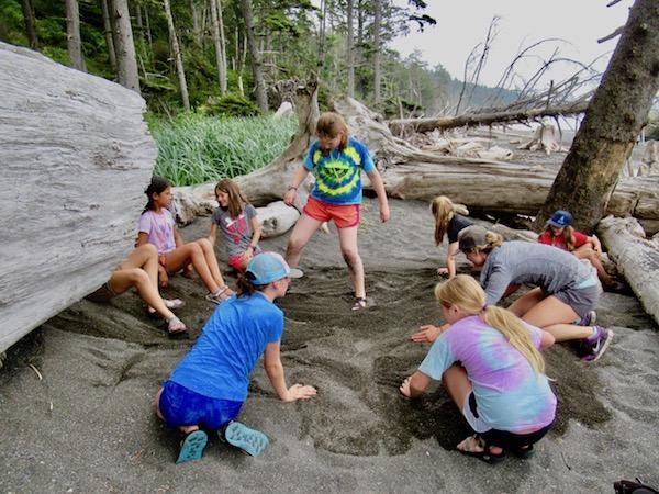 Coastal backpacking camp