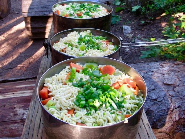 Healthy backpacking camp food