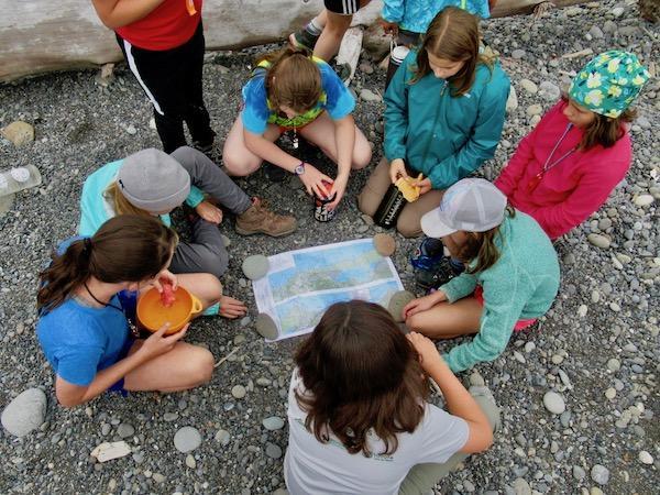 Girls camp map skills
