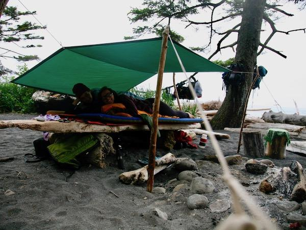 Tarp shelter beach camping