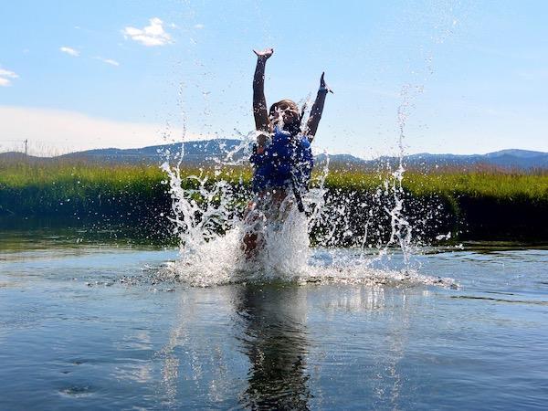 Swimming at summer camp
