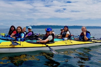girls summer camp kayaking